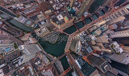 aerial view above chicago downtown illinois