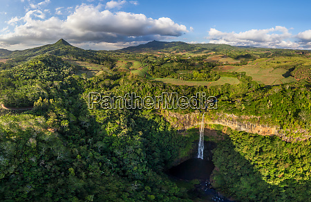 aerial image of a waterfall at