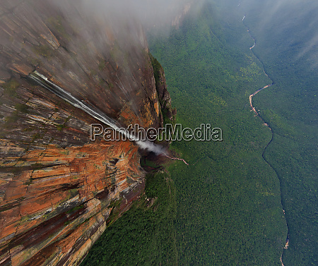aerial view above of angel falls