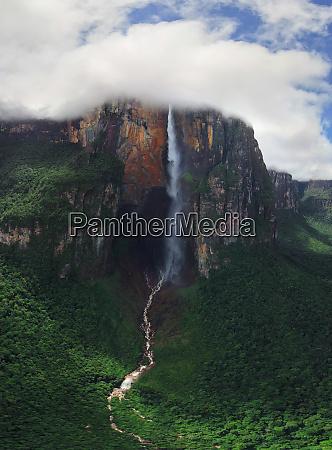 aerial view of angel falls venezuela