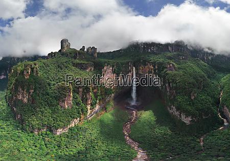 panoramic aerial view of angel falls