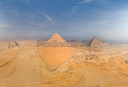aerial view of the pyramids in
