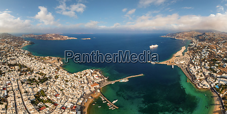panoramic aerial view of mykonos island