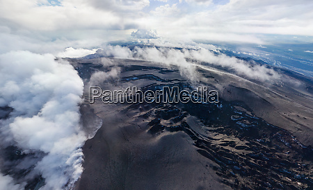 aerial view of eyafjallajoekull volcano and