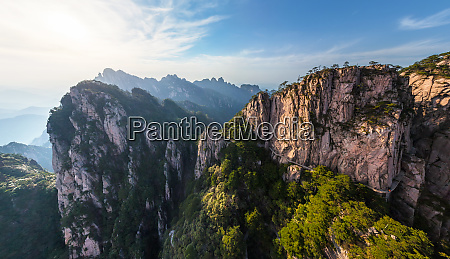aerial view of huangshan mountains china