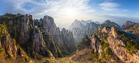 panoramic aerial view of huangshan mountains