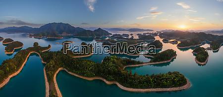 aerial view of qiandao lake the
