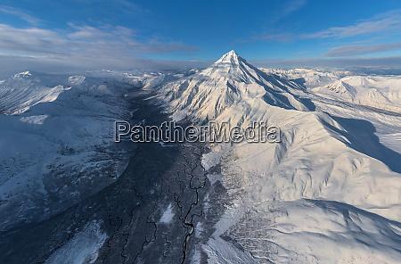 aerial view of vilyuchinsky stratovolcano kamchatka