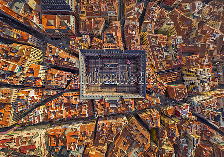 aerial view above of plaza mayor