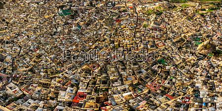 aerial view of fes neighborhood morocco