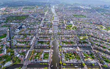 aerial view of canals crossing the