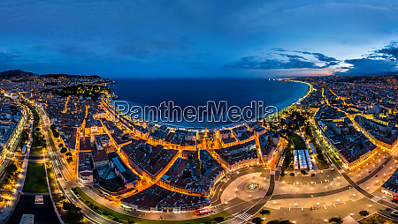 panoramic aerial view of nice during
