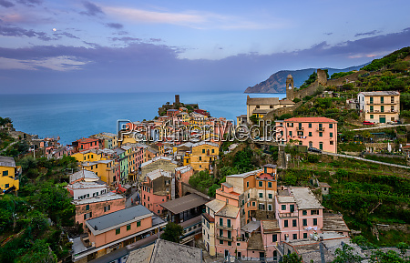 aerial view of vernazza cityscape italy