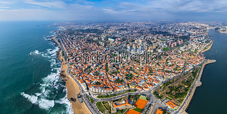 panoramic aerial view of porto cityscape
