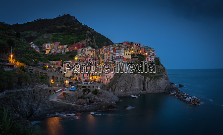 aerial view of manarola colorful houses