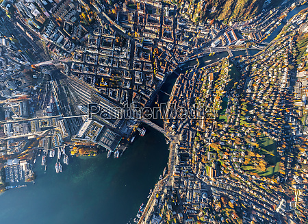 aerial view of lucerne cityscape during