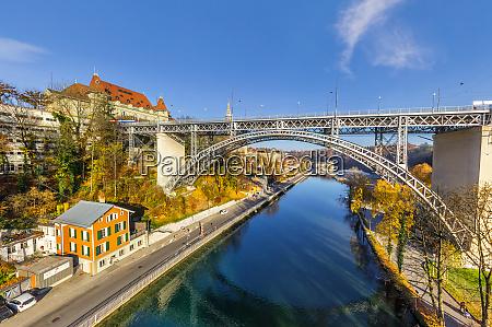 aerial view metal bridge crossing aare