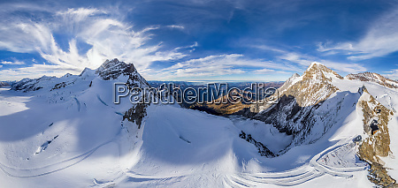 aerial view of jungfrau mountain chain