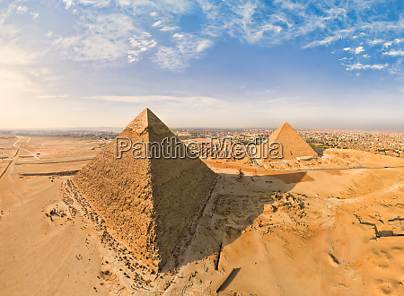 aerial view of the great pyramids