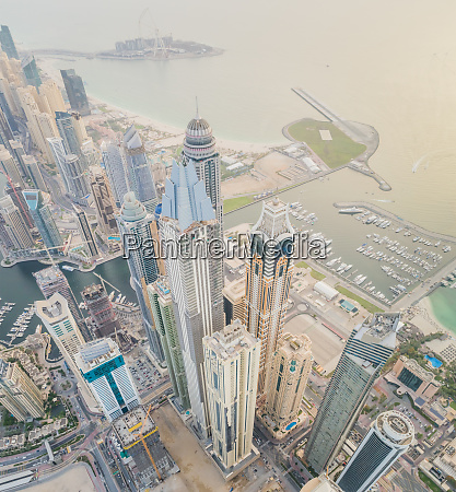 aerial view of towers surrounding harbour