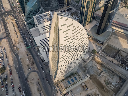 aerial view of curved design skyscraper