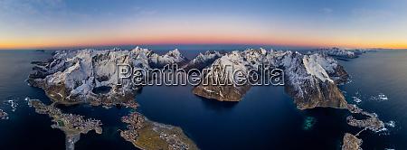 aerial view of lofoten archipelago norway