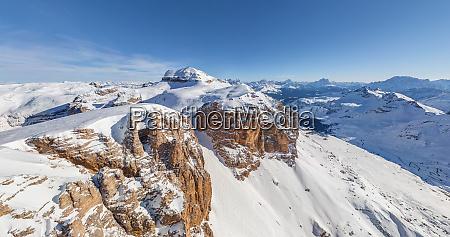 aerial view of dolomites mountain range