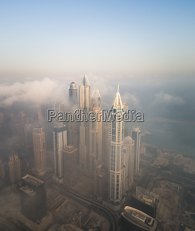 aerial view of skyscrapers touching the