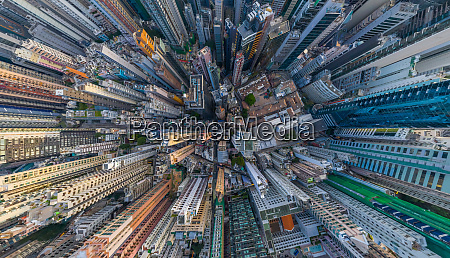 aerial view above hong kong downtown