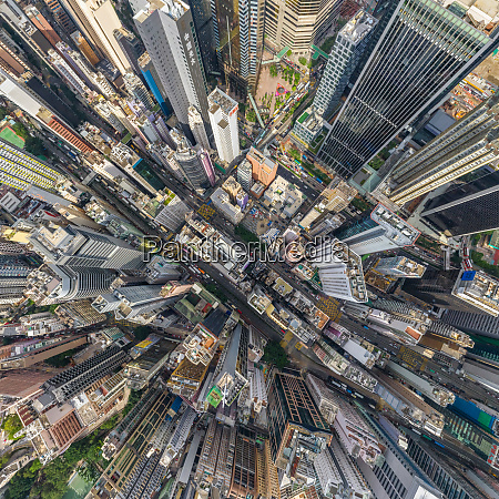 aerial view above hong kong downtown