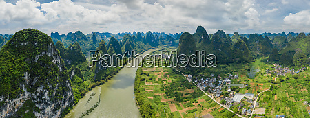 aerial view of guilin mountains china