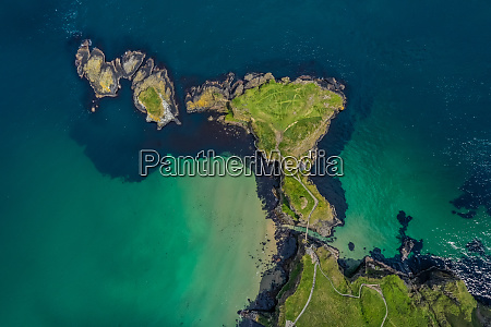 aerial view above peninsula off the