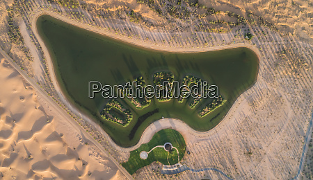 aerial view of an artificial lake