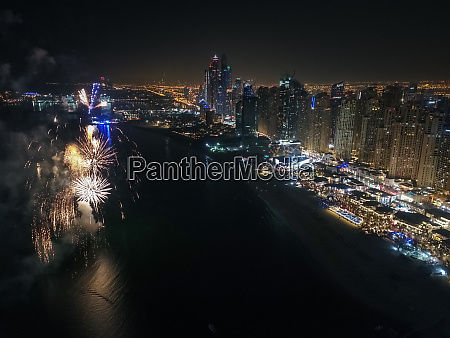 aerial view of fireworks celebration in