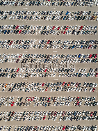 aerial abstract view of cars parked