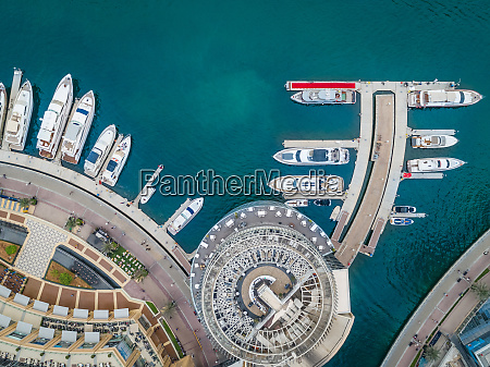 aerial view of moored boats in