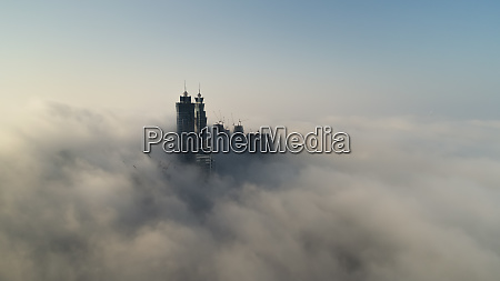 aerial view of skyscrapers in the