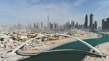 aerial view of pedestrian arch bridge