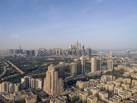 aerial view of skyscrapers and emirates