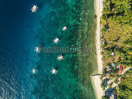 aerial view of filipino boats and