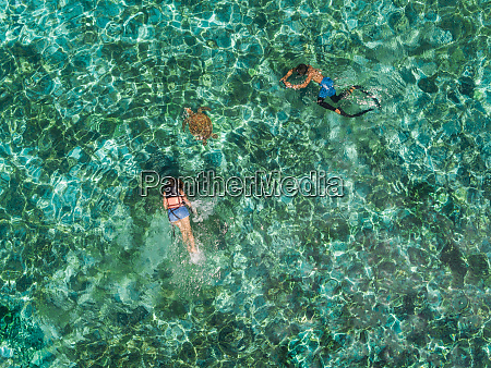 aerial view of two people snorkeling