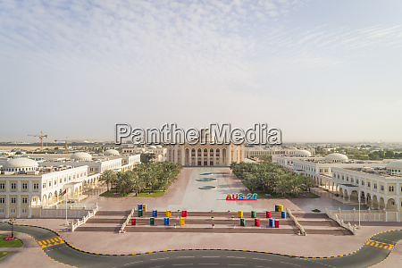 aerial view of university city in
