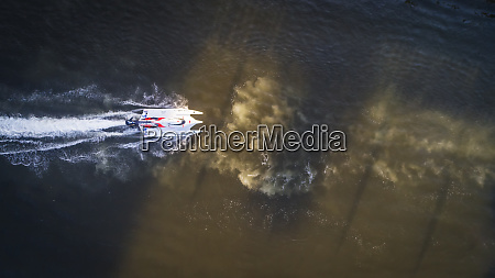 aerial view of speed boat in
