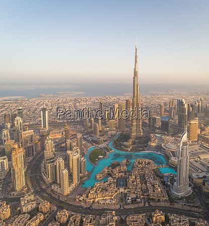 aerial view of burj khalifa skyscraper