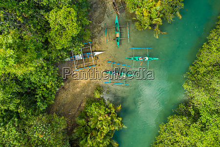 aerial view of traditional fishing boats