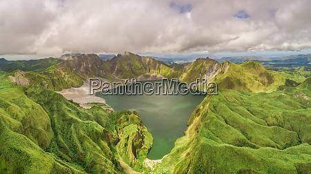 aerial view of volcanic lake pinatubo