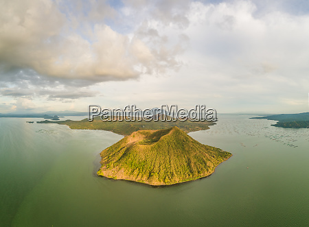 aerial view of taal volcano in
