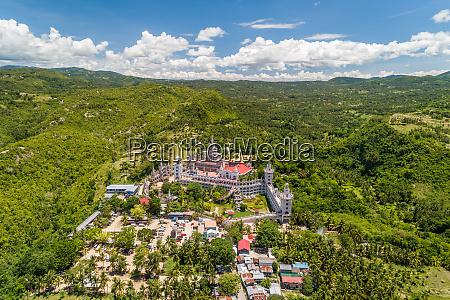 aerial view of monastery of the