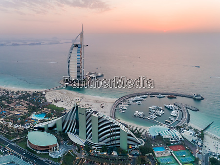 aerial view of burj al arab