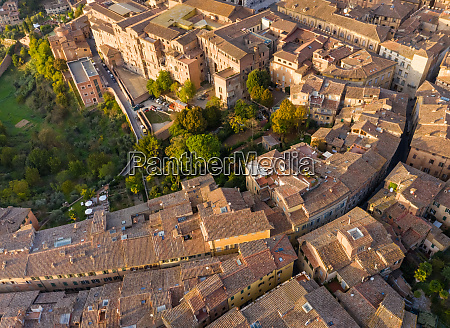 aerial view above of historic city